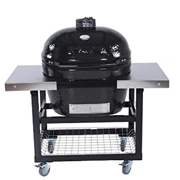 Primo Ceramic Charcoal Smoker Grill On Cart With Side Tables – Oval Xl
