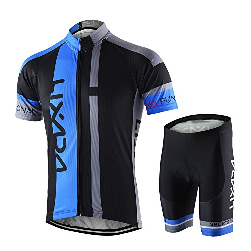 (Lixada Men's Cycling Jersey Set Breathable Quick-Dry Short Sleeve Biking Shirt with 7D Padded Shorts MTB Road Bike Cycling Clothing Set)