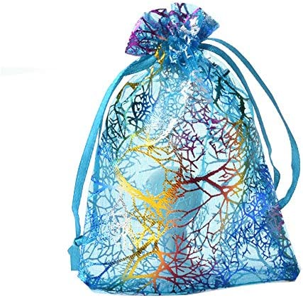10x15cm SumDirect 100Pcs Mixed Color Coral Pattern Organza Bags Wedding Party Gift Favor Bag Jewelry Pouches for Christmas,Baby Shower