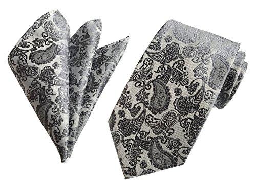 Secdtie Men's Paisley Handkerchief Tie Set Woven Suit Necktie Pocket Square Set