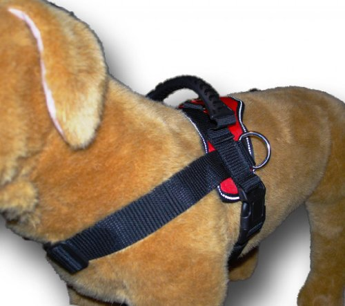 Red Nylon Dog Harness Multipurpose Service Pulling Sport Professional Training Walking Pit Bull Lab for all breeds all sizes variety of colors (Pitbull Red Harness compare prices)