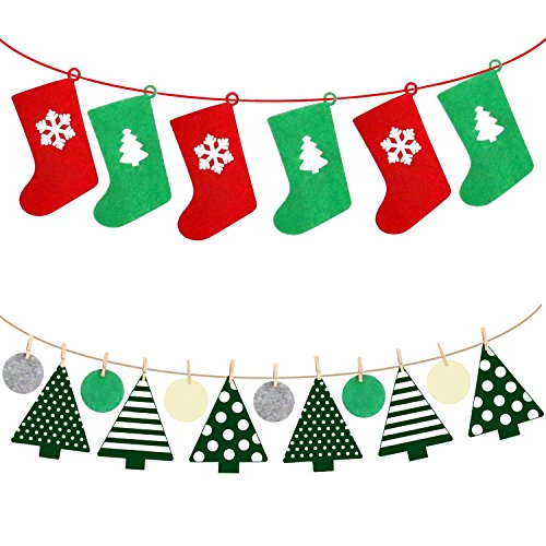 vesil christmas decorations xmas party ornaments bunting banner flags indoor 2 pack - Indoor Christmas Decorations Amazon