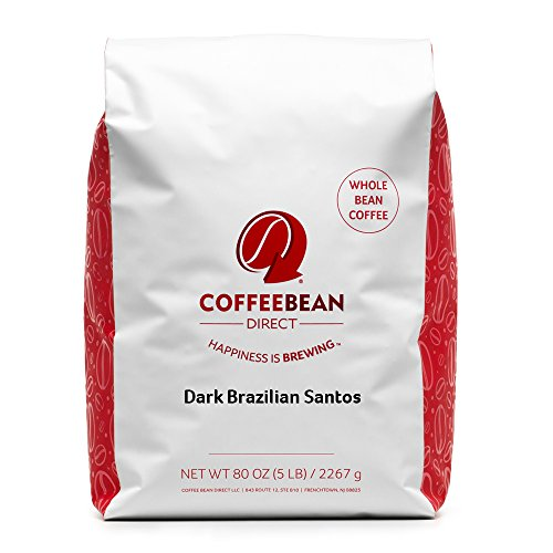 Coffee Bean Direct Dark Brazilian Santos, Dark Roast, Whole Bean, 5 Pound