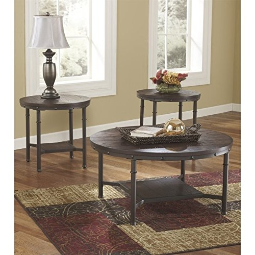 Ashley Furniture Signature Design - Sandling Occasional Table Set - End Tables and Coffee Table - 3 Piece - Round - Rustic Brown (Lane Occasional Tables)