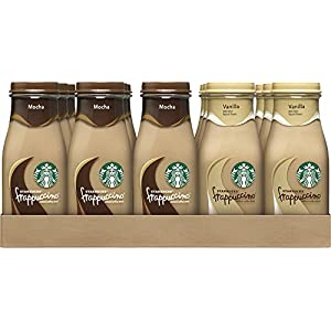 Starbucks Frappuccino Drinks, Mocha and Vanilla Flavors, 9.5 Ounce Glass Bottles (15 Bottles)