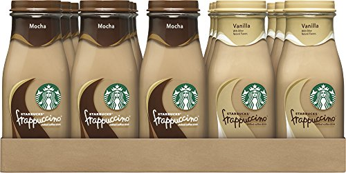 Ice Coffee - Starbucks Frappuccino Drinks, Mocha and Vanilla Flavors, 9.5 Ounce Glass Bottles (15 Bottles)