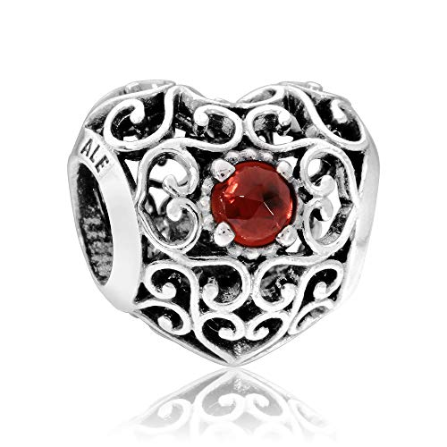 (Pandora January Signature Heart Charm With Garnet)
