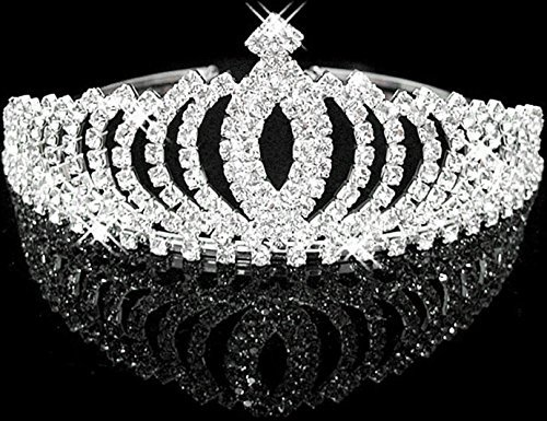 [Women Stylish Shining Rhinestone Crown Headband Tiara,Silver] (Costumes Jewelry Prices)