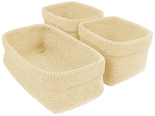 (DII Home Essentials Hand Crocheted Storage Baskets for Drawers, Closets, Bathrooms, Kitchen, Organization, Food and More Set of 3, Cream)
