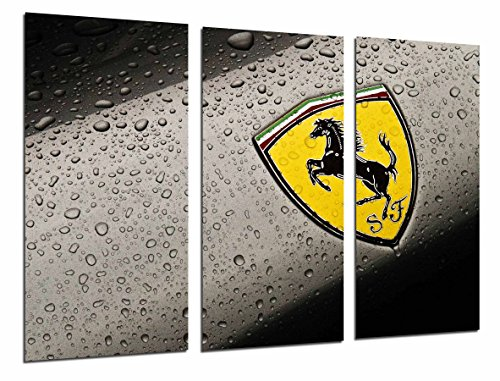 Cuadros Camara Multi Wood Printings Art Print Box Framed Picture Wall Hanging - (Total Size: 38 x 24.4 in), Logo Yellow Ferrari, Car, Brand - Framed and Ready to Hang - ref. 26838 (Logo Für Ferrari)