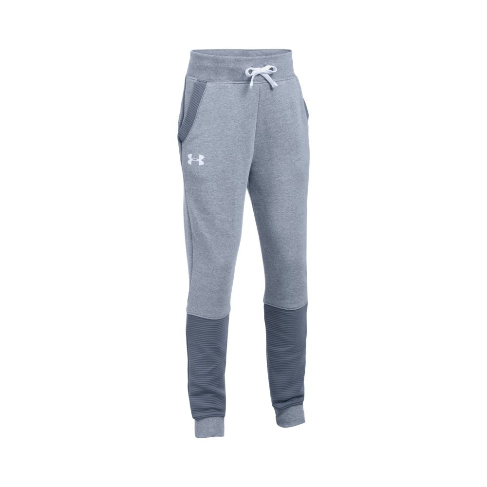 Under Armour Girls' Threadborne Ridge Jogger,Apollo Gray (962)/White, Youth X-Large