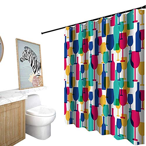 StarsART Shower Curtains Green Gray,Winery Decor Collection,Cocktail Glass and Wine Bottle Pattern Bar Menu Party Alcohol Drinks Festive Image,Shower Curtain for Shower stall,W36 x L72,Magenta Navy]()