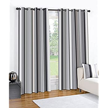fusion pair of wentworth striped solid lined window curtains drapes with eyelet. Black Bedroom Furniture Sets. Home Design Ideas