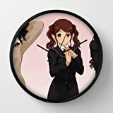 Amagami Girl Cute Posture Gesture Background Black Frame 10 Inch Wall Decoration Wall Clock