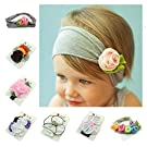 ZHW Baby Cotton Stretch Pretty Rose, Tulip Flower Headbands (7 Pack)