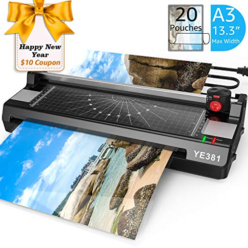 Laminator Machine for A3/A4/A6, YE381 Thermal Laminating Machine for Home Office School Use with 20 Pouches, Paper Trimmer and Corner Rounder