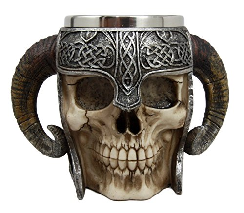 Ebros Gift Viking Ram Horned Pit Lord Warrior Skull With Battle Helmet Beer Stein Tankard Coffee Cup Mug 13oz Norse Mythology Folklore Odin Thor Loki Ragnarok Poetic Edda Decor