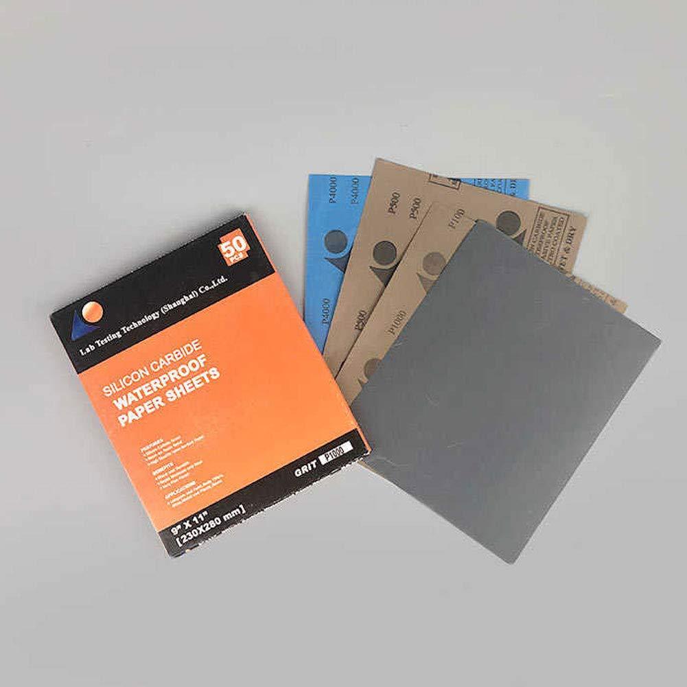 Adamas-Beta 50 Pcs P400 Waterproof Metallographic Sandpaper 230/×280mm Silicon Carbide Sandpaper