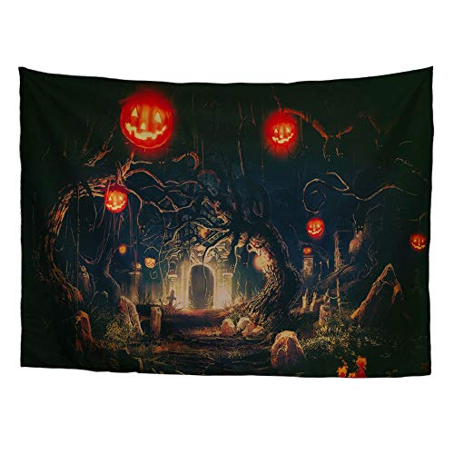 Spring Warner Halloween Tapestry Night Wall Hangings Tapedtry Haunted Woods with Grave and Pumpkins Wall Blanket for Bedroom Living Room Dorm -