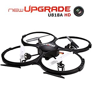 UDI U818A HD 2.4GHz 4CH 6 Axis Gyro Headless Mode RC Quadcopter Drone w/ HD 2MP Camera, Extra Battery and Return Home Function Black