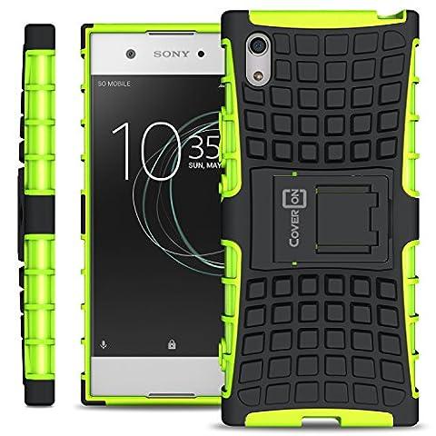 Sony Xperia XA1 Case, CoverON [Atomic Series] Hybrid Armor Cover Tough Protective Hard Kickstand Phone Case for Sony Xperia XA1 - Green / (Cell Phones Cases Sony Xperia)