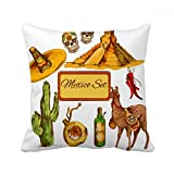 DIYthinker Sombrero Mexico Pyramid Desert Cactus Mexican Square Throw Pillow Insert Cushion Cover Home Sofa Decor Gift