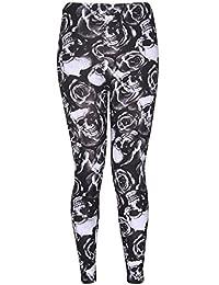 Womens Plus Skull Rose Print Stretch Leggings (US 16/18)