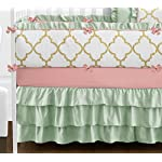 Sweet-Jojo-Designs-9-Piece-Boutique-Ava-Mint-Coral-White-and-Gold-Trellis-Girls-Baby-Bedding-Crib-Set-with-Bumper