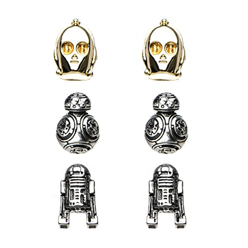 Star Wars Jewelry Unisex Adult Episode 8 BB-8, C-3PO and R2-D2 Stud Earrings Set, Gold/Silver, One
