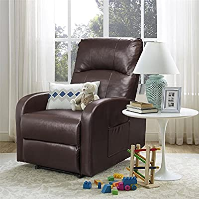 Homall Manual Recliner Chair Padded PU Leather Home Theater Seating Modern Chaise Couch Black Lounger Sofa Seat (Brown)