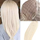 Easyouth 100% Denisty Remy Human Hair Clip in 12inch Platinum Blonde Toppers Crown Hairpiece Clip in Mono Top Wiglet Free Part Invisible Base Size 6.5×3''