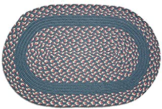product image for Oval Braided Rug (2'x3'): Williamsburg Blue, Rose & Cream - Williamsburg Blue Band