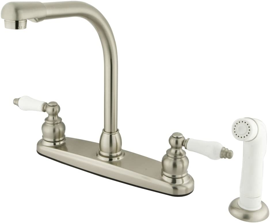 Kingston Brass KB718 Victorian High Arch Kitchen Faucet with Sprayer Brushed Nickel