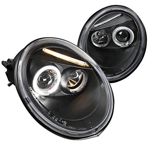 (Spec-D Tuning LHP-BEE98JM-TM Volkswagen Beetle Black Projector Halo Head Lights)