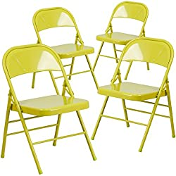 Flash Furniture 4 Pk. HERCULES COLORBURST Series Twisted Citron Triple Braced & Double Hinged Metal Folding Chair