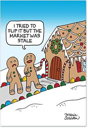 12 Boxed 'Stale Market' Christmas Cards with Envelopes 4.63 x 6.75 inch, Happy Holidays with Funny Gingerbread Men and Gingerbread Houses Christmas Notes, Silly Gingerbread Man B1188