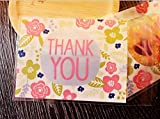 Babycolas Mum 100pcs Pink Flower Thank YOU Cookie Packaging Self-adhesive Plastic Bags for Gift Cookie Candy Soap Biscuits Package Good for Wedding Party Bakery Party