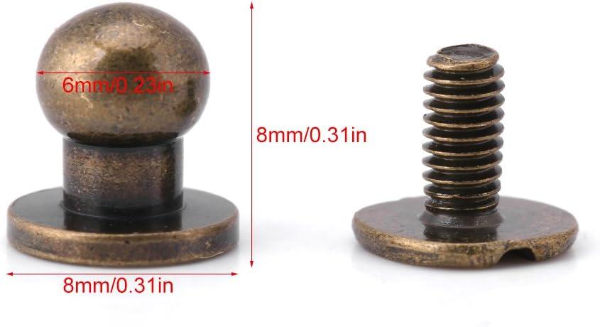 8 * 6mm Bronze Wosume Runde Nieten 20 st/ücke Runden Kopf Solide Kupfer Nagel Nietknopf DIY Leder Zubeh/ör