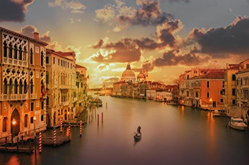 Venice Italy Photos - Gondola in The Grand Canal at Sunset Venice Italy Photo Art Print Poster 36x24 inch