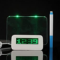 Sunki LED Digital Alarm Clock LCD Display 4 USB Port Hub Charger Message Memo Board Backlight with Highlighter Green