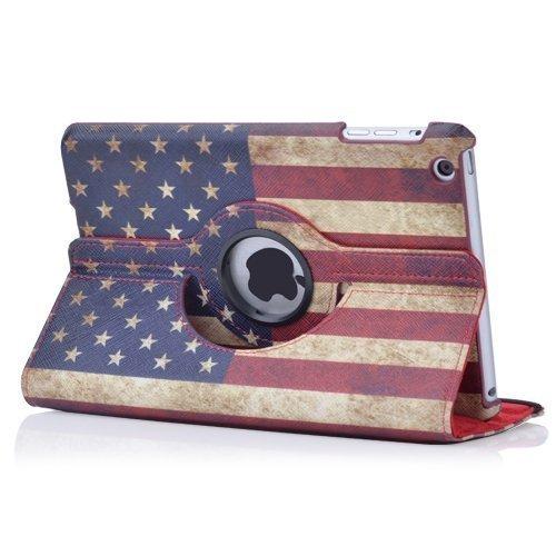 Mocase iPad Mini USA Flag Pu Leather Case with 360 Degrees Rotating Swivel Stand for Apple Ipad Mini 1/2/3 7.9 Inch Tablet (Supports Auto Sleep/wake Features) ( Red US Flag) (American Flag I Pad Mini Case)