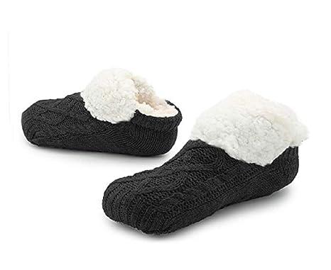ced1aec34 Slipper Fluffy Socks for Women Men Heat Holding Sock Knitted Socks Wool  Sherpa Fuzzy Bed Slippers