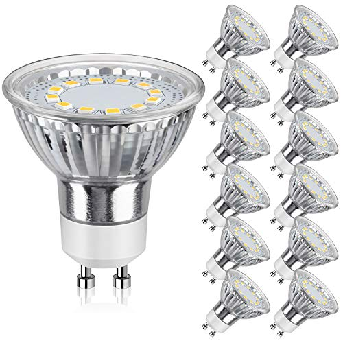 GU10 LED Bulbs 50W Halogen Equivalent, 5000K Daylight White Track Light Bulbs, 3.5W 350Lumens, CRI>85, 120 Degree Beam Angle Bulbs for Spotlight, Recessed Light, Flood Light, Non-Dimmable, Pack of 12