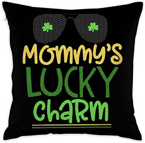 18x18 Inches Square Throw Pillow Covers Mommys Little Lucky Charm Pillow Cushion Cases for Couch Sofa Bed