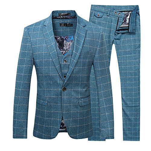 - Men's Plaid Modern Fit 3-Piece Suit Blazer Jacket Tux Vest & Trousers,Blue,X-Large