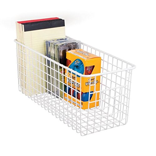 mDesign Deep Wire Office Storage Basket for Office Supplies, Note Pads, Pens - Matte White