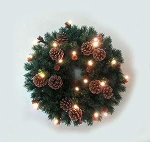 Pino de Navidad con piñas corona de efecto luminoso con LED funciona con pilas
