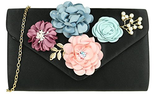 Bag Black Girly Flowers Clutch HandBags 4PtwtzqvOx