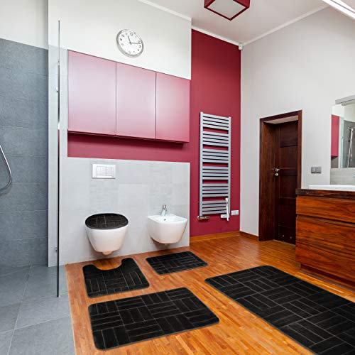 5 Piece Bathroom Rugs Set Soft Non Slip Memory Foam Large Bathroom Mats
