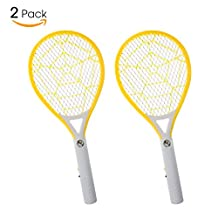 Bug Zapper-Electric Fly Swatter, Rechargeable Mosquito Fly Killer, 2 Pack-Bug Zapper Racket 2300 Volts Super Bright LED Light to Zap in the Dark, Built- in US Plug & 3-Layer Mesh Safe to Touch-Yellow